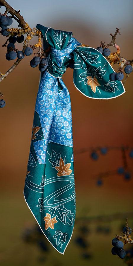 Foulard Bandana Kimonon azur prunelle